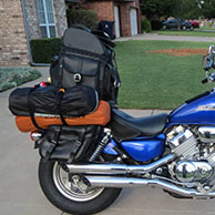 Syd's Honda Magna w/ Motorcycle Leather Backrest Bag